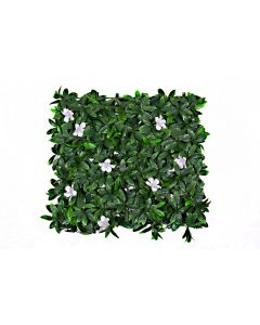 Artificial Green Wall Hedge with Dark Leaf Foliage and White Flowers (Pack of 4)