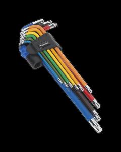 Sealey TRX-Star* Key Set 9pc Colour-Coded Extra-Long