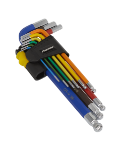 Sealey Ball-End Hex Key Set 9pc Long Colour-Coded Imperial