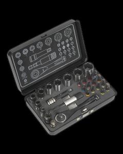 """Socket & Impact Grade Torsion Bit Set 28pc 1/4""""Sq Drive Micro Premier Black Series"""