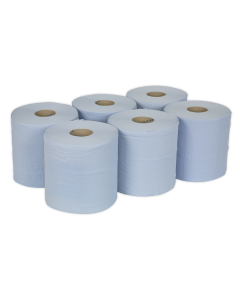 Sealey Paper Roll Blue 2-Ply Embossed 150m Pack of 6