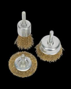 Sealey Wire Brush Set 3pc Brassed
