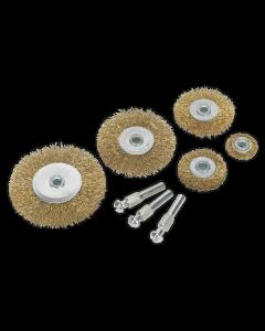 Sealey Wire Brush Set 8pc Brassed