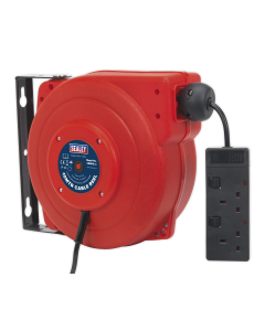 Sealey Cable Reel System Retractable 10m 2 x 230V Socket