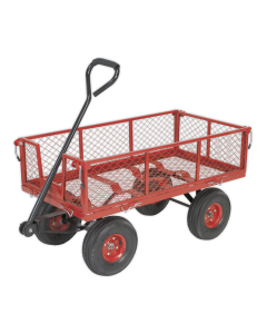 Sealey Platform Truck with Removable Sides Pneumatic Tyres 200kg Ca