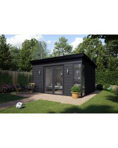 Eurocell Kyube Timber Frame Garden Room - French Doors & Corner Glass