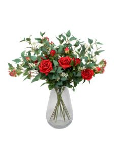 Premium Quality Artificial Red Bouquet – Floral Arrangement with Roses, Elderflower, Berries & Greenery