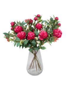 Premium Quality Artificial Dark Pink Bouquet – Floral Arrangement with Peonies, Elderflower, Berries & Greenery