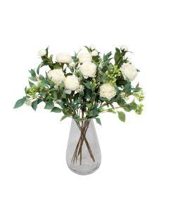 Premium Quality Artificial White Bouquet – Floral Arrangement with Peonies, Elderflower, Berries & Greenery