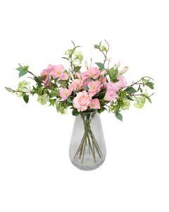 Premium Quality Artificial Pink Bouquet – Floral Arrangement with Roses, Hellebores, Elderflower, Peonies & Greenery
