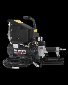 Sealey Air Nail/Staple Gun Kit including Compressor, Hose & Nailer/