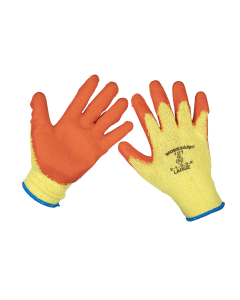 Sealey Super Grip Knitted Gloves Latex Palm (Large) - Pack of 6 Pai